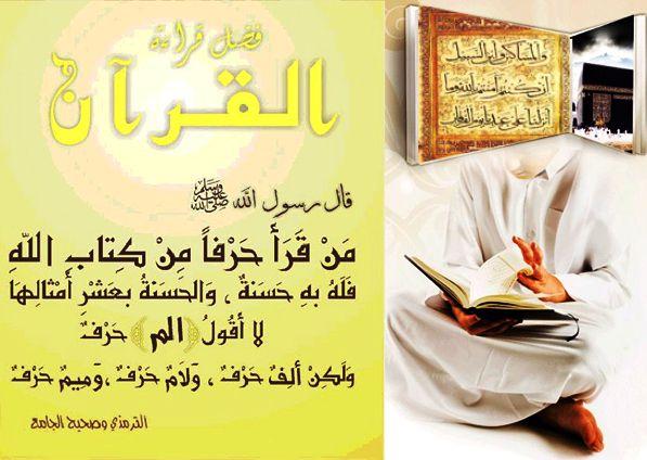 """řekl prorok, mír s ním : """" Kdokoliv přečte písmeno z Knihy Boží, má dobrý skutek, a dobrý skutek je podoben desetinásobku. Neříkám, že slovo ELIF Lám mím je písmeno, ale ELIF je písmeno, lám je písmeno a mým je písmeno."""" zaznamenal attirmidý a šejch Albány ho označil za správný."""