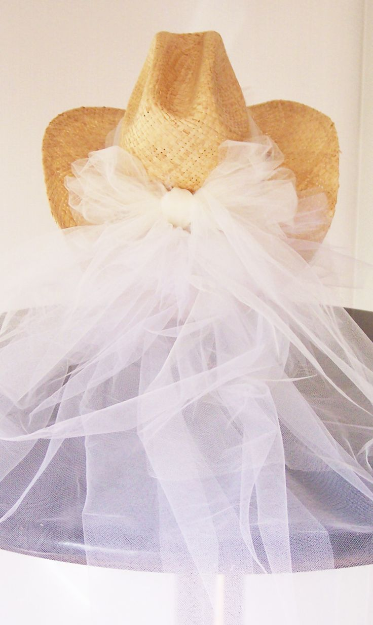 Natural straw cowboy hat with white mesh veil used by brides for bachelorette parties in Nashville and around the world sold at the Doubletree Hotel and gottagottahaveit.com