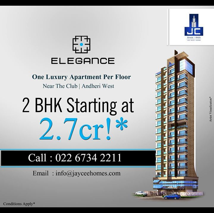 Experience an elite lifestyle with Jaycee Homes #Elegance that provides value, style, luxury and  space, located at #Andheri #West, starting at just 2.7 crores*