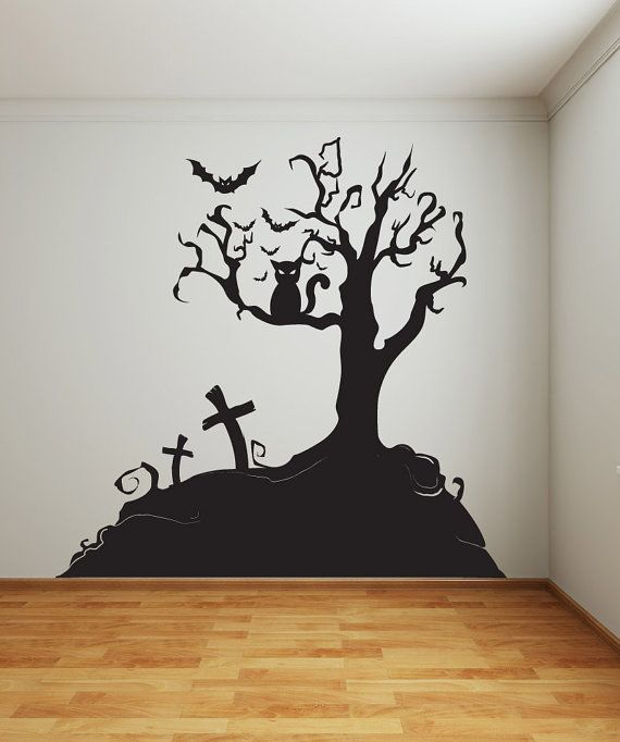 Vinyl Wall Decal Sticker Halloween Tree 1014s
