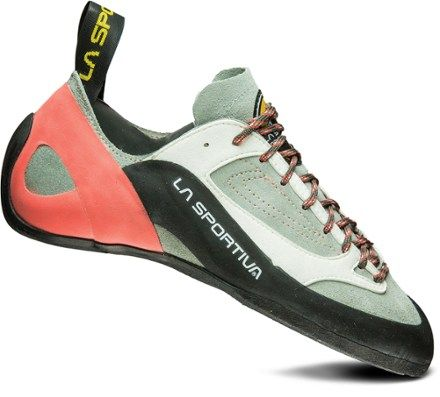 The all-around La Sportiva Finale Rock Shoes are designed to help novice climbers move to the next level in the gym, at the crag or out bouldering thanks to a neutral design and sticky outsoles. Available at REI, 100% Satisfaction Guaranteed.