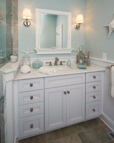 beach cottage bathroom - love the colors: Bathroom Design, Bathroom Color, Beaches House, Wall Color, Beaches Theme, Bathroom Ideas, Master Bath, Traditional Bathroom, Beaches Bathroom