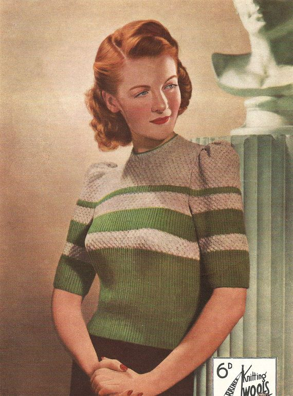 1940s Knitting Pattern for Womens Jumper in Two Colors - Short Puffed Sleeve - Marriner Knitting Wools - Digital PDF