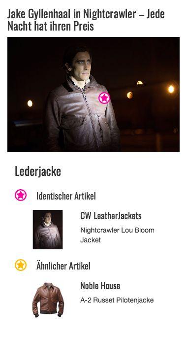 Mit dem Erfolg wandelt sich auch der Kleidungsstil von Louis Bloom (gespielt von Jake Gyllenhaal). Er bleibt zwar seinem Retro-Style treu, dennoch wechselt er sein Outfit von der grauen Baseball-Jacke hin zur deutlich maskulineren Lederjacke. Die braune Jacke aus echtem Leder besitzt einen simplen Kragen, einen offenliegenden Reißverschluss sowie zwei große, aufgesetzte Bauchtaschen, deren Öffnungen mit einer Lasche verdeckt werden.