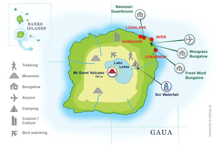Map of Gaua Island, Banks Islands, Torba, Vanuatu