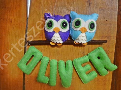 Oliver bagoly névtábla, filcdísz, függődísz, filcbetű http://www.meska.hu/ProductView/index/1032214 kerteszevi