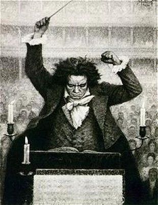 """Picture of Beethoven conducting. Like Bach and Mozart, another indispensable figure in the history of music. I often think of Bach, Beethoven and Mozart as the """"Big Three""""... just like GM, Ford and Chrysler used to be. Beethoven went deaf and apparently kept trying to conduct until it became painfully obvious that it just wasn't happening any more. Sad. What a great, emotionally rich composer."""