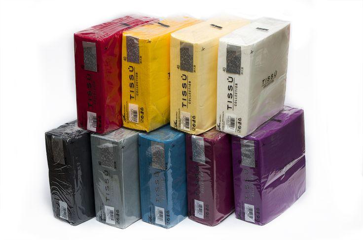 Tovaglioli colorati doppio velo o monovelo, disponibili in diverse dimensioni e colorazioni.