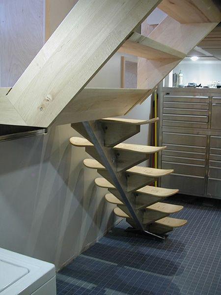 Modern stairs created from skateboard decks