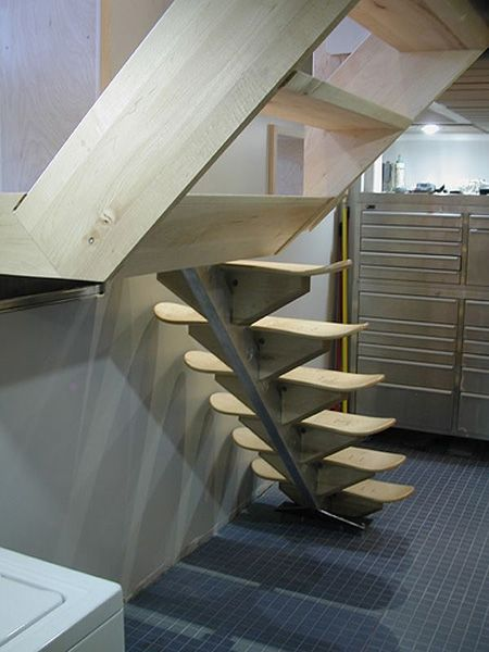Modern stairs created from skateboard decks