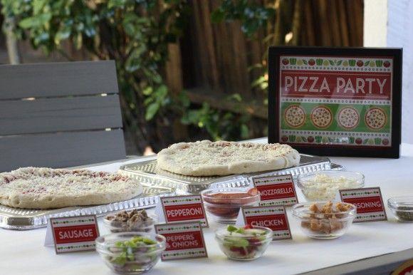 festa com pizza em casa