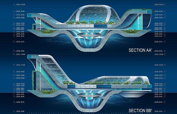 Дом будущего на водной поверхности.
