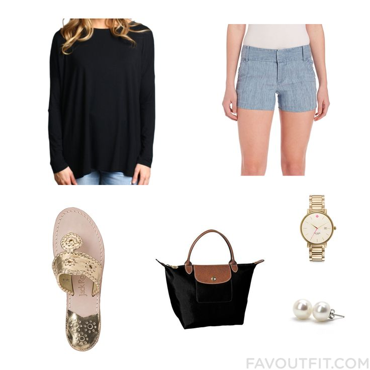 Ootd Assortment Featuring Piko Top Alice Olivia Shorts Jack Rogers Sandals And Longchamp Handbag From March 2016 #outfit #look