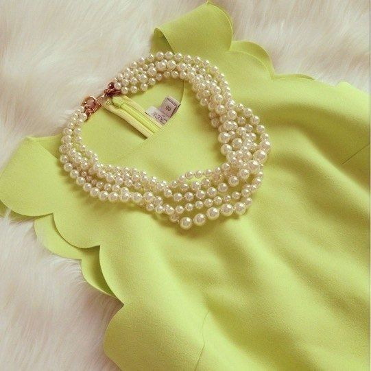 Yellow scallop silk blouse✅fashion clothes enough LK mine fashion mine