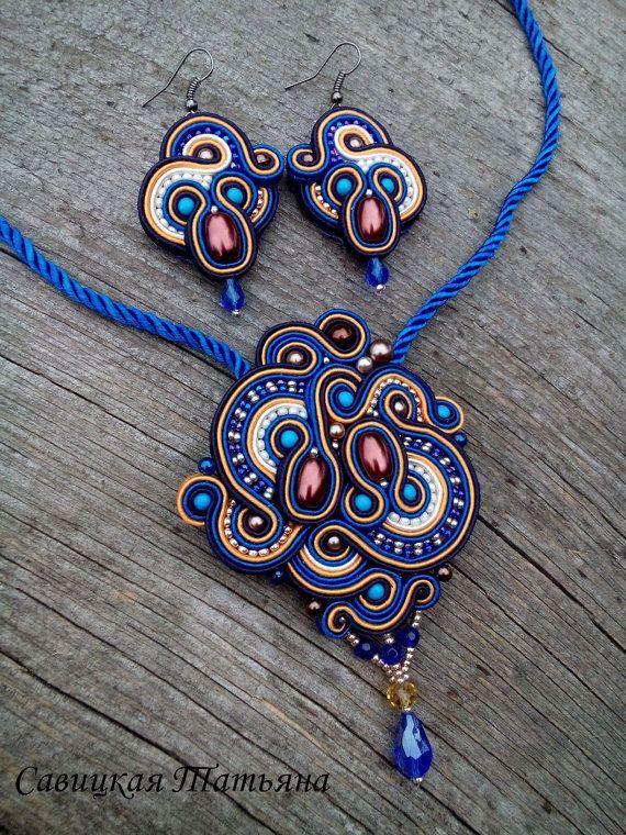 Soutache Blue Asymmetric Set-Soutache Blue Pendant-Soutache Blue Earrings- Hand Embroidered Soutache Jewelry-Soutache Jewelry