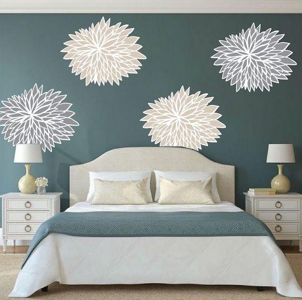 Wall Decor Above Curved Headboard Ideas Home Interiors Wallpaper Walls Decor Wall Decor Bedroom Floral Wall Decals