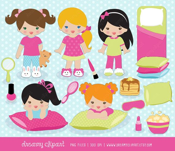Sleepover clipart / slumber party clipart / sleepover clip art / pajamas clipart / pancake clip art / sleepover clipart / instant download