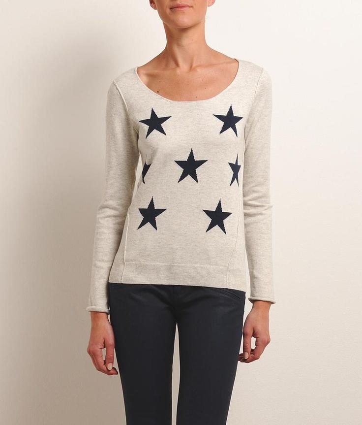 SUD EXPRESS MELISSANDRE – Pull fin à manches longues en coton et laine avec étoiles devant et aux coudes 55€