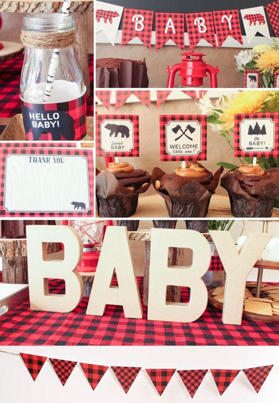 Lumberjack Baby Shower Decorations Rustic Plaid Red Black