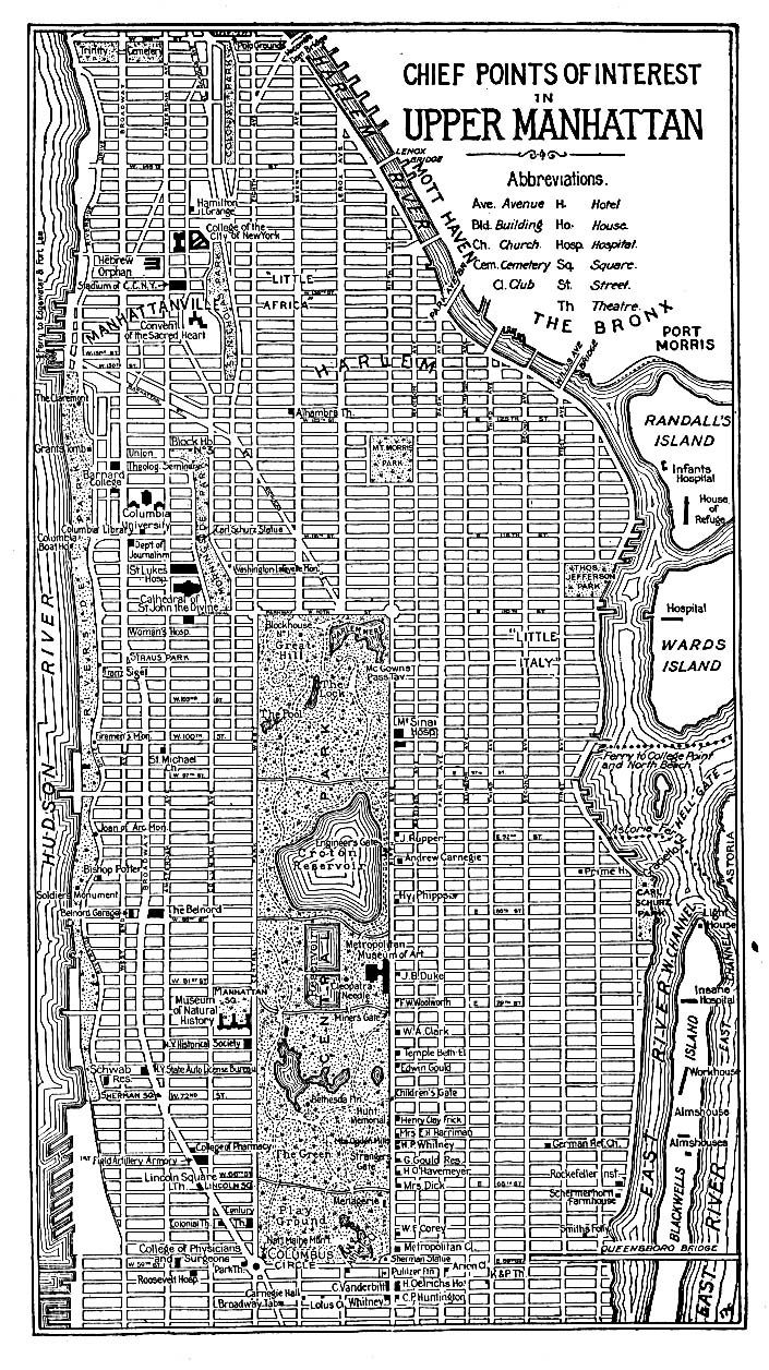 """Chief Points of Interest in Upper Manhattan"" 1920"