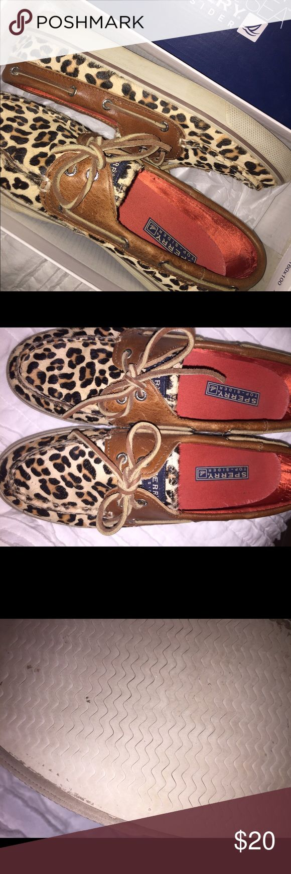 Leopard Sperry Slip-ons Looove these! So cute leopard fake fur texture. Minimal wear on soles. Sperry Top-Sider Shoes