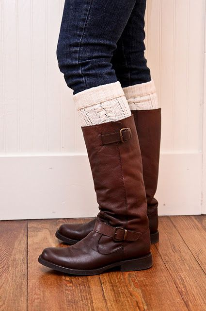 buy old sweater at goodwill, cut of sleeves and wear a legwarmers in boot. great idea