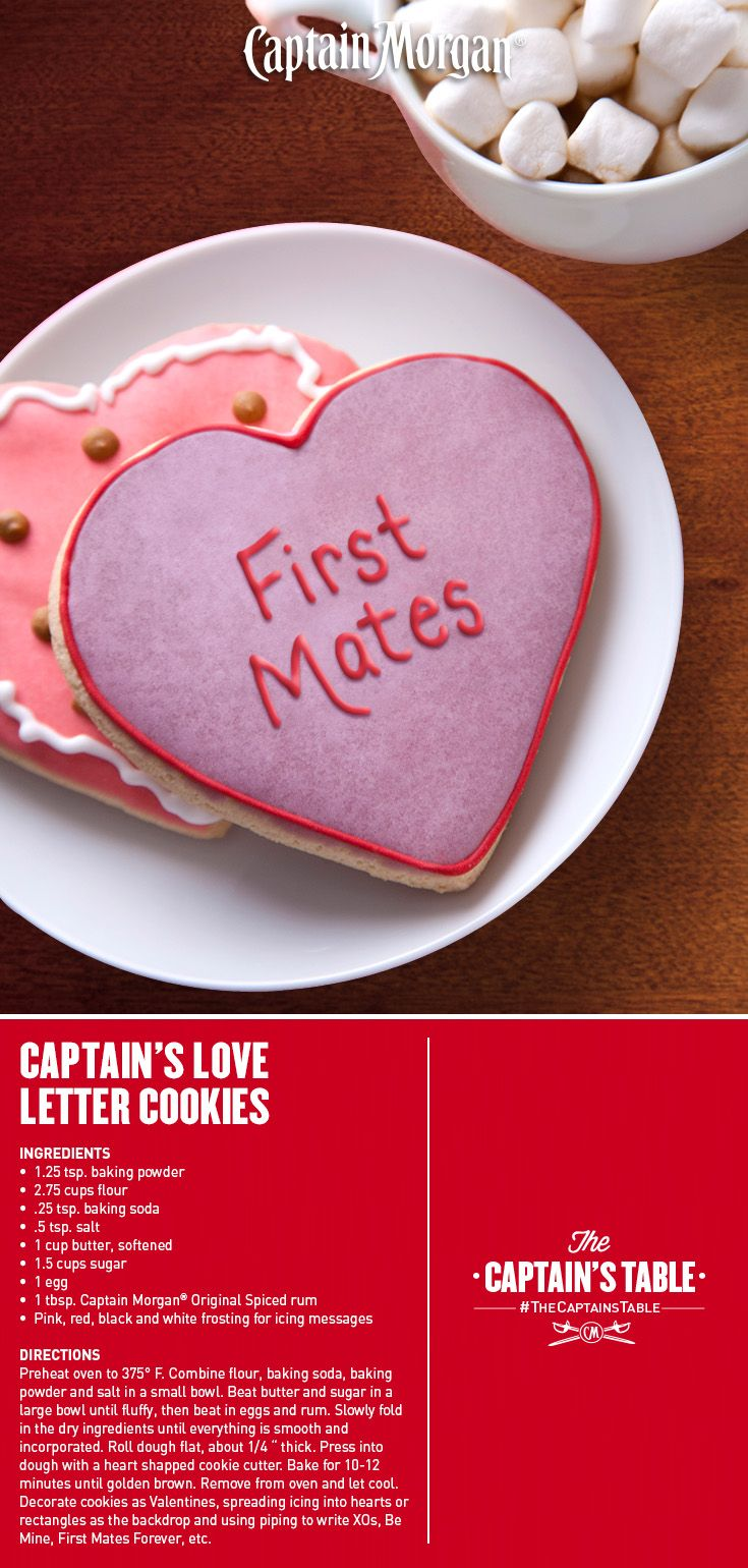 Warm, spicy and soft. A Valentine's Day recipe that says it all! #Captain #Morgan #rum #cookies #CaptainsTable #dessert