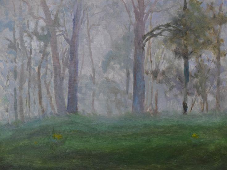 "Donald Burrow. ""Foggy Morning"" 2015. Oil on panel 30x 40cm."
