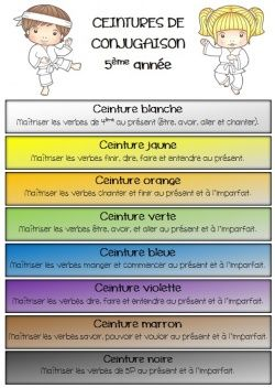 Les ceintures de conjugaison- love this! Could change this to fit my needs/verbs taught.
