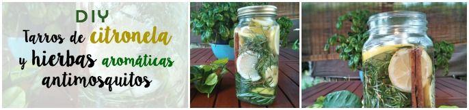 tarro reciclado convertido en antimosquitos natural con limón, hierbas aromática canela, citronella. Velas flotantes aromatizadas : via MIBLOG