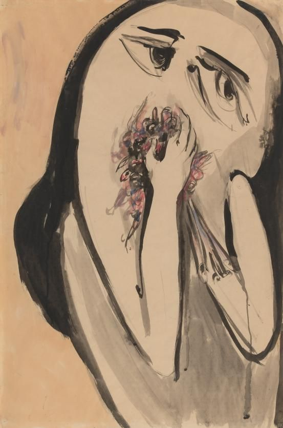 Girl with flowers (c. 1956)  Artist/s name     Joy HESTER   Medium     brush and ink, watercolour and wash Measurements     75.8 x 50.3 cm (image) 75.8 x 50.3 cm (sheet)
