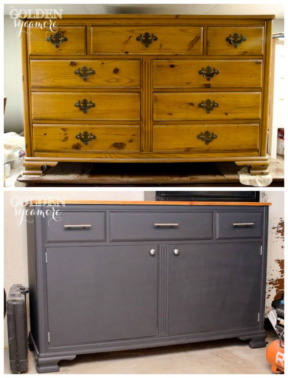 DIY Old Dresser into Useful Tool Chest (source: Thegoldensycamore.com/).