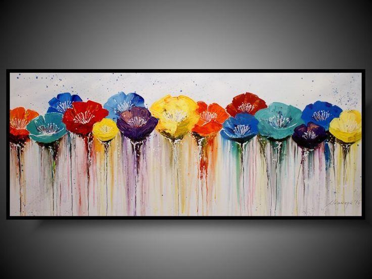 Duzy Obraz Kwiaty Kolorowa Laka Obraz Recznie Malowany Wykonany Przez Www Dobrasztuka P Abstract Flower Painting Abstract Flower Art Wall Art Canvas Painting