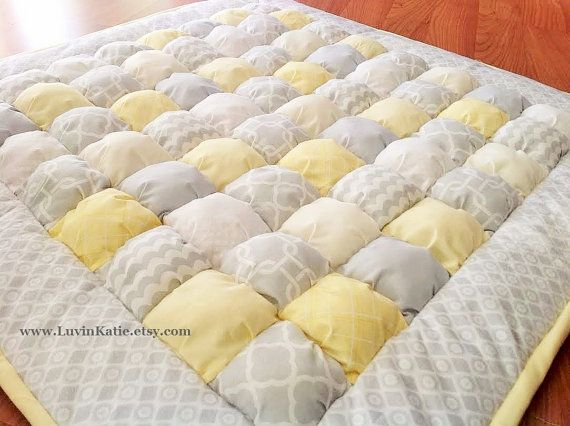 Baby Bubble Quilt Puff Quilt Biscuit Quilt for Floor Time Tummy Time YELLOW GREY WHITE