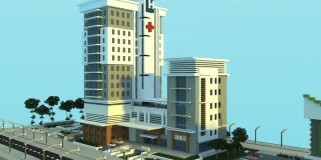 Modern Hospital minecraft building ideas schematic download city