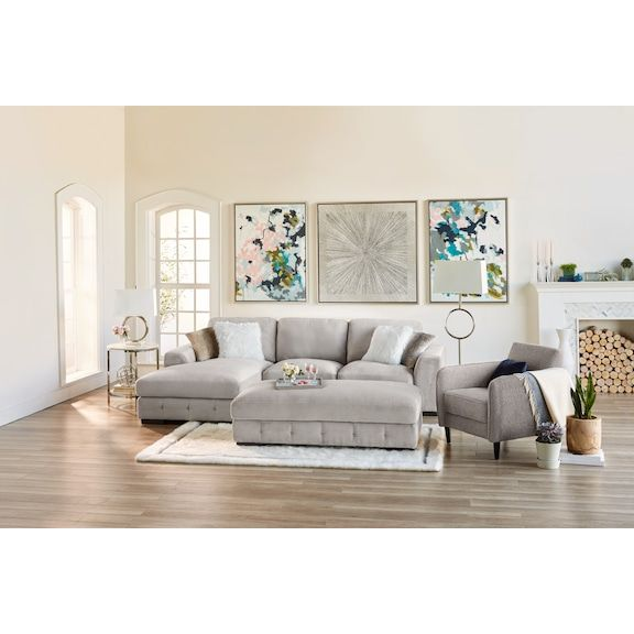 Terry 2 Piece Sectional With Left Facing Chaise Cement Value City Furniture And Mattresses Furniture White