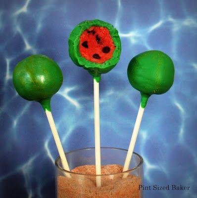"""Watermelon Cake Pops- mini chocolate chips """"seeds"""", red cake, green chocolate outside"""