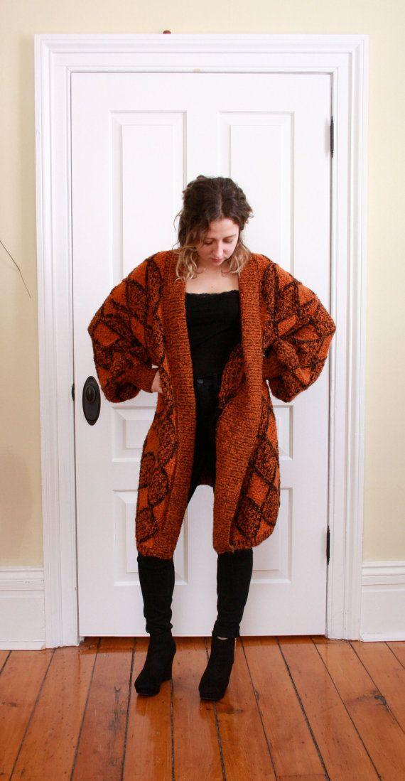Vintage Oversized Sienna Orange Cardigan by modernheartsvintage, $42.00