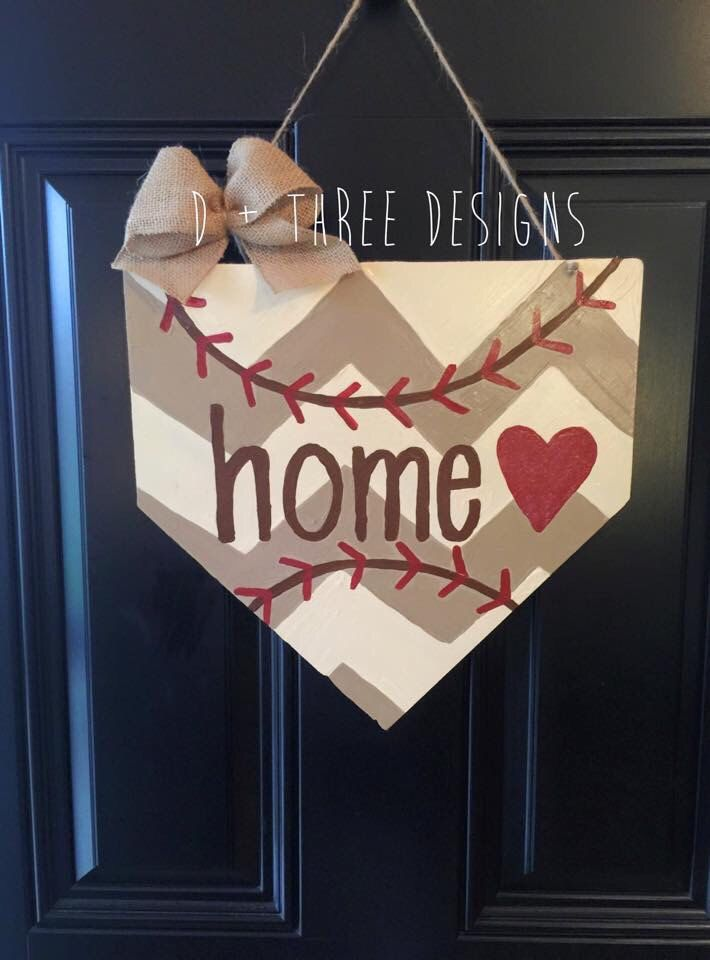 Baseball Home Plate Base, Baseball Decor, Baseball Wreath, Sports Wreath, Sports Decor, Summer Door Hanger, Wooden Door Hanger, by DPlusThreeDesigns on Etsy https://www.etsy.com/listing/227006898/baseball-home-plate-base-baseball-decor