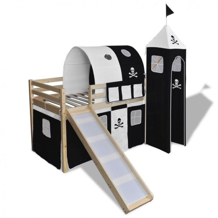 Childrens Loft Bed Slide Ladder Pirate Themed Black White Tent Bunk Wood Bedroom #ChildrensLoftBed