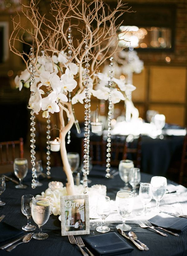 Smaller version of large tree as centerpiece.