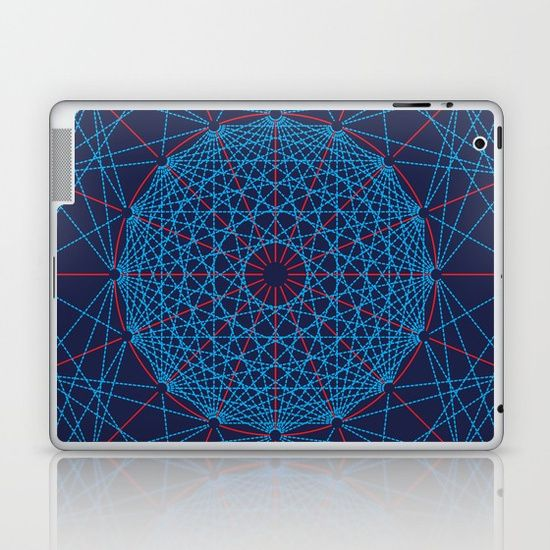 Geometric Circle Blue/Red Laptop & iPad skin by Fimbis   ________________________ Skins are thin, easy-to-remove, vinyl decals for customizing your laptop . Skins are made from a patented material that eliminates air bubbles and wrinkles for easy application.