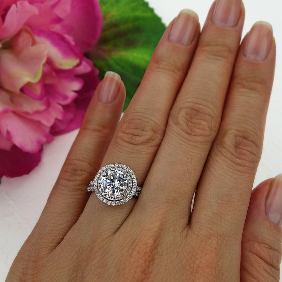 2.5 ctw Double Halo Ring Wedding Set Round by TigerGemstones