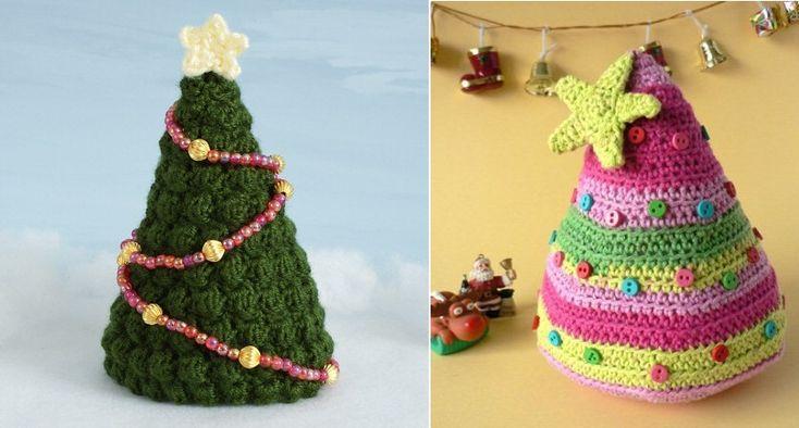 Alberi di Natale fatti ad uncinetto tridimensionali e decorativi
