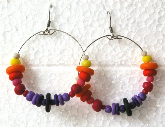 Polymer clay handmade abstract circle earrings by Inspiration2Art, $12.99
