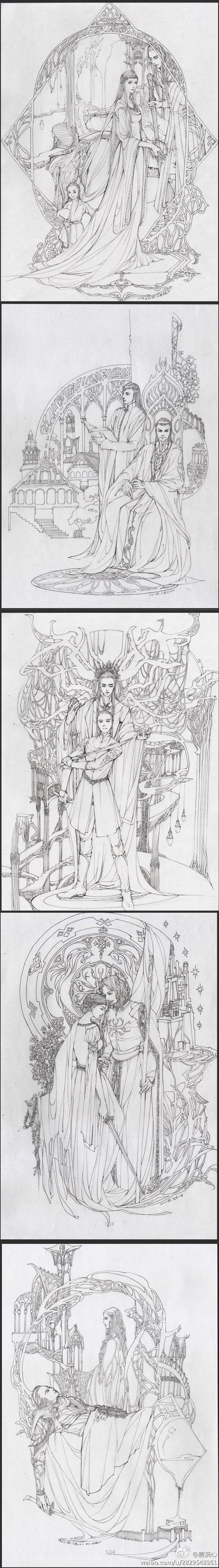 Thranduil y su familia; Elrond y Lundir; Тhranduil y Legolas; Eowyn y Faramir, Galadriel y Celebrimbor?