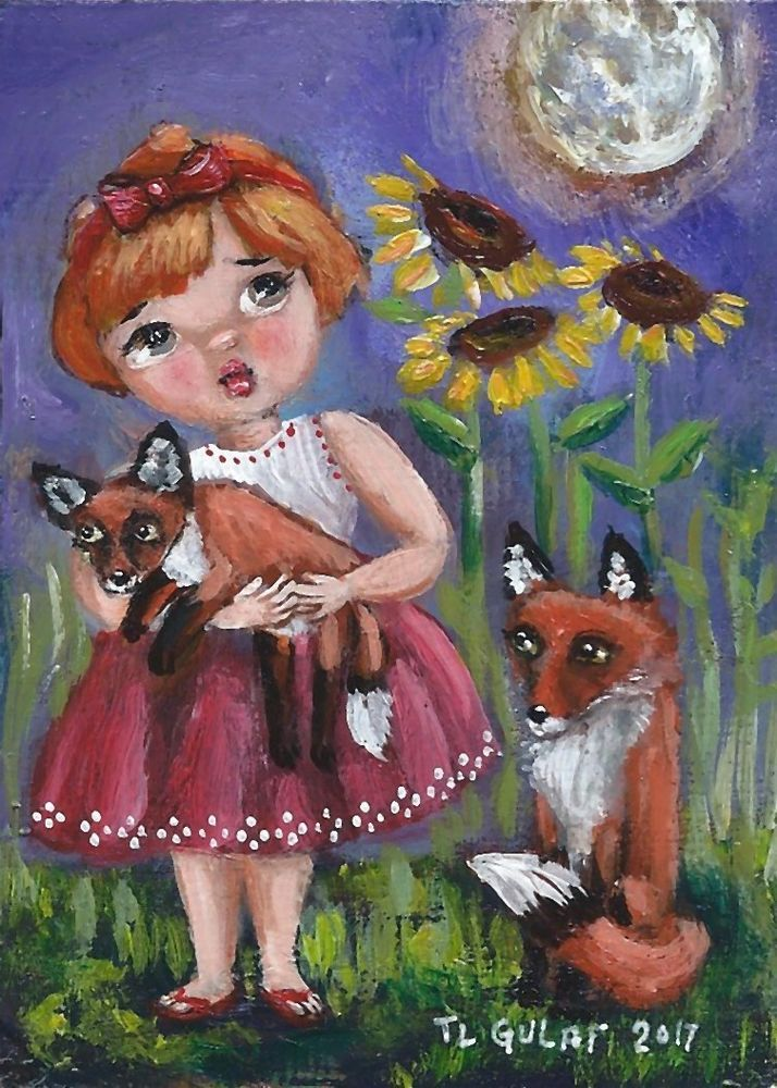 NFAC #ACEO Original #Miniature Acrylic #Painting #Fox #Girl #Sunflower Moon Gulat  #FolkArt