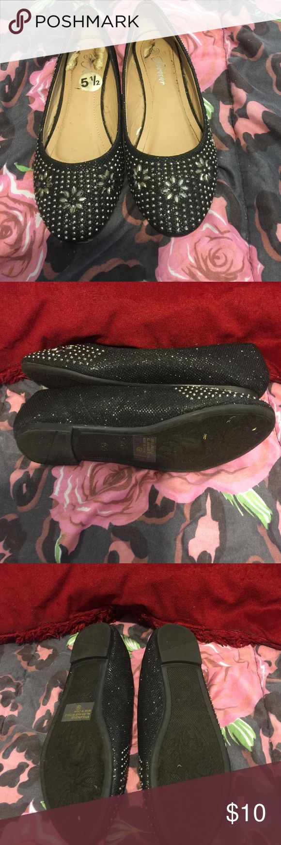 Black sparkly flats Worn once and then daughter outgrew them right after 8 th grade graduation. Super cut for everyday use. Stylish and comfortable. Bundle and save happy poshing💃🏻💋❤️ Forever Shoes Flats & Loafers
