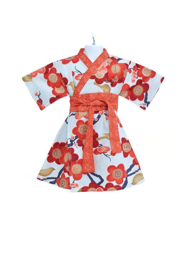 KIMONO DRESS - Autumn Sakura- sizes 0 through 10 years - baby girls toddler easter dress