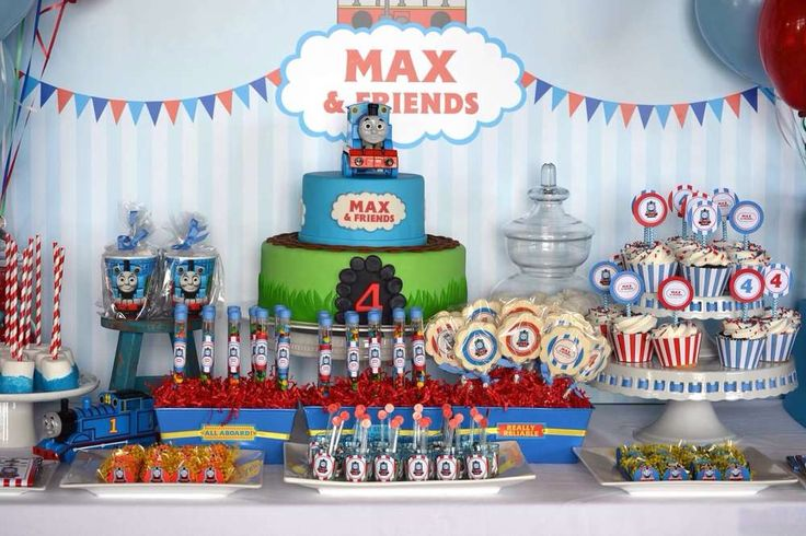 Thomas the Tank Engine boy birthday party backdrop and dessert table! See more party ideas at CatchMyParty.com!: